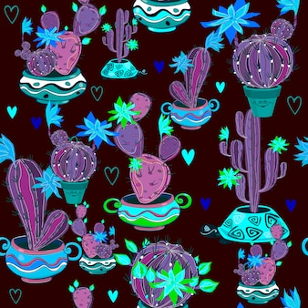 Blooming cacti in funny pots seamless pattern