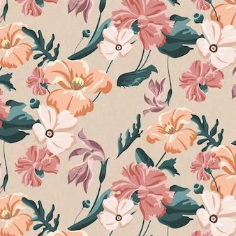 咲くカラフルな花のシームレスなパターン