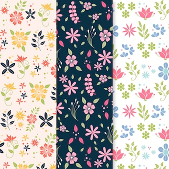 Blooming colourful flowers flat design spring pattern