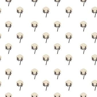 咲く綿の花のシームレスなパターン。テキスタイルおよびファブリックの生産。産業やアトリエのための装飾的な花の背景。高品質の素材とオーガニックのソフト製品。フラットスタイルのベクトル
