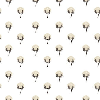 Blooming cotton flower seamless pattern. production of textile and fabrics. decorative floral background for industry or atelier. quality material and organic soft product. vector in flat style