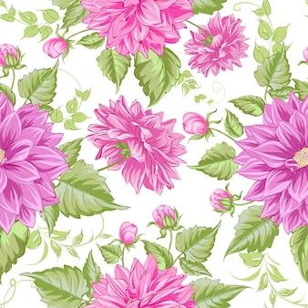 Blooming dahlias seamless pattern