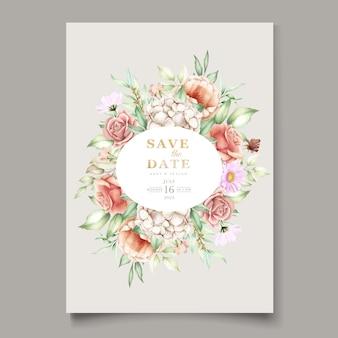 咲く花の春の招待カードセット