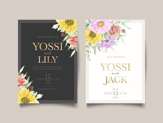 Цветущие цветочные весенние приглашения набор