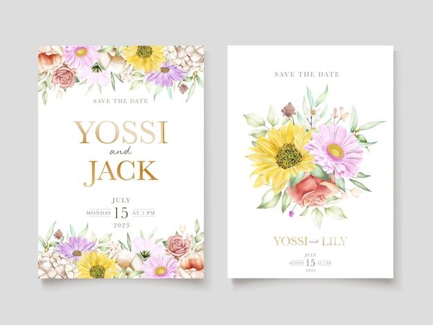 Blooming floral spring invitation card set