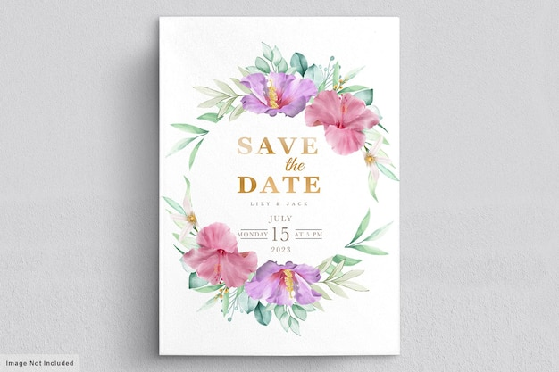 Blooming floral wedding frame card