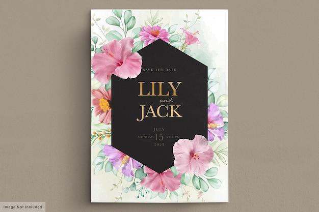 피는 꽃 웨딩 프레임 카드