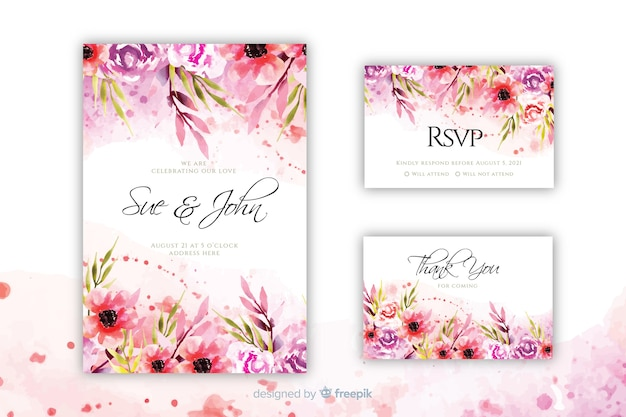 Blooming floral wedding invitation template