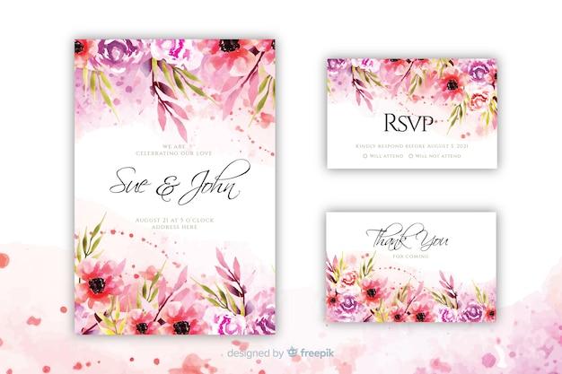Цветущие цветочные свадебные приглашения шаблон Premium векторы