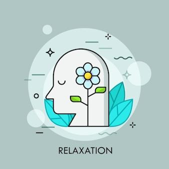 Цветущий цветок и человеческая голова с закрытыми глазами в окружении зеленых листьев. понятие релаксации, покоя, отдыха, спокойствия, медитации.