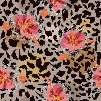 Blooming flower on animal skin  seamless pattern