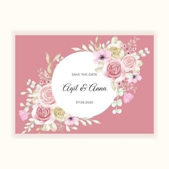 컬러 파스텔 핑크와 개화 꽃 프레임