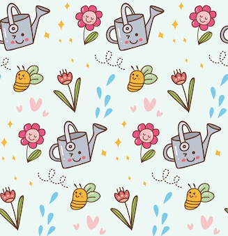 Blooming flower in kawaii style background