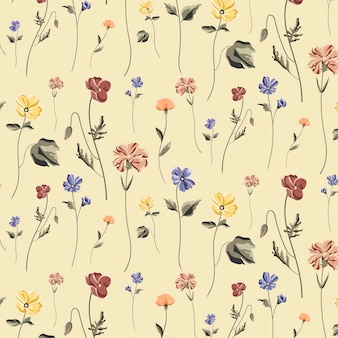 Blooming flower seamless pattern on a beige background vector