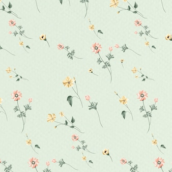 Blooming flower seamless pattern on a green background