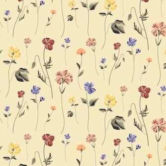베이지색 배경 벡터에 개화 꽃 원활한 패턴