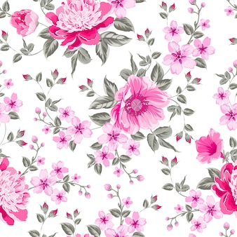 Blooming flower seamless pattern