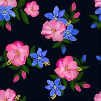 Blooming flower seamless pattern