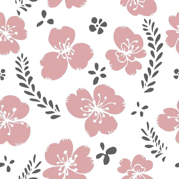 Цветущий цветок с листьями цветочный узор печати