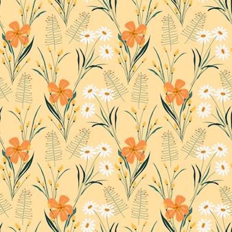 Blooming flower with weeds leaves seamless pattern
