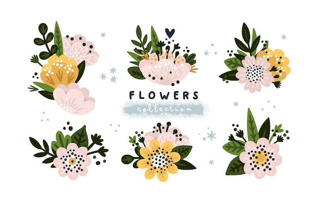 Blooming flowers collection hand drawn romantic flower composition in pastel colors for baby shower