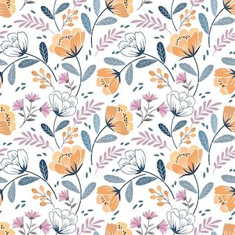 ヴィンテージカラーのシームレスなパターンで咲く花のデザイン。