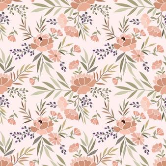 Blooming flowers design in vintage color seamless pattern.