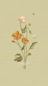 緑の背景ベクトルに咲く花
