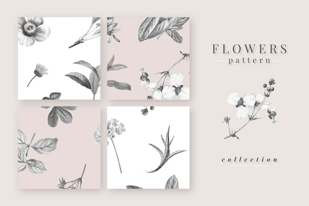 Blooming flowers pattern  collection