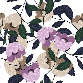 Цветущие цветы бесшовные модели, изолированные на белом фоне.