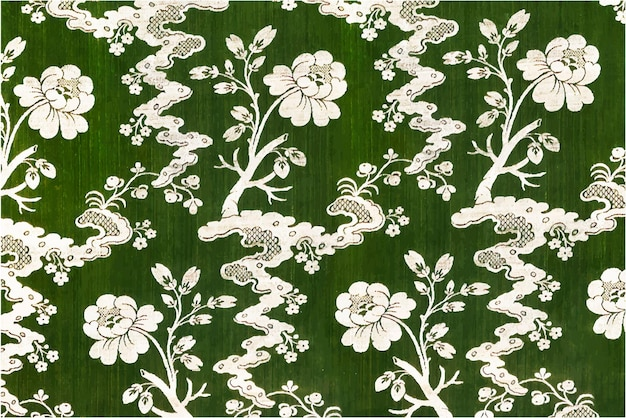 Blooming flowers vector green pattern background vintage style