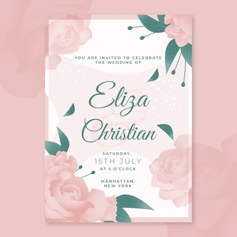 Blooming flowers wedding party invitation