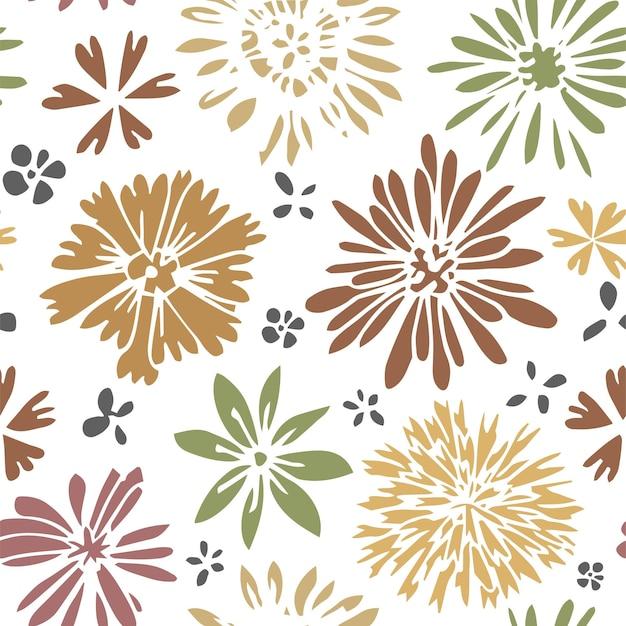 つぼみと葉、春と夏の植物で咲く花。花、繁栄、植物学の野花。シームレスなパターン、背景または印刷、ラッピングまたは壁紙、フラットスタイルのベクトル