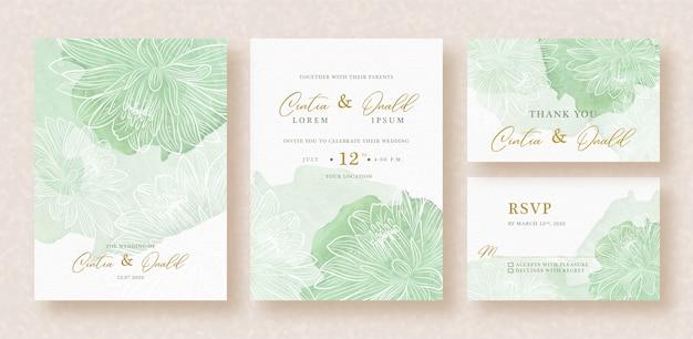 結婚式の招待状にスプラッシュ水彩で咲く花