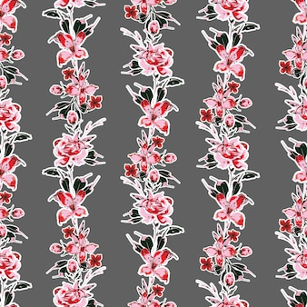 Blooming garden floral vertical stripes,hand drawn floral seamless pattern vector eps10,design for fashion , fabric, textile, wallpaper, cover, web , wrapping and all prints on grey