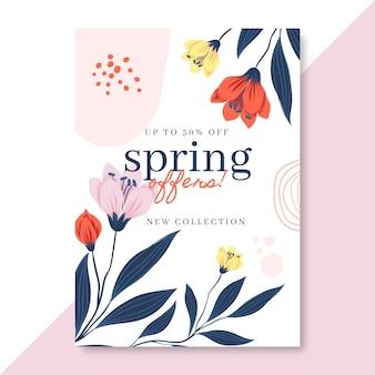 피는 손으로 그린 봄 포스터 템플릿