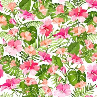咲くハイビスカスとヤシのシームレスパターン
