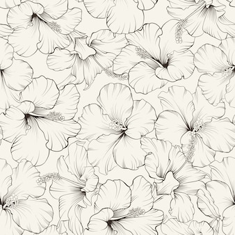 Blooming hibiscus seamless pattern