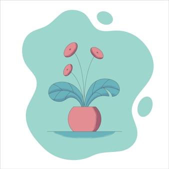 Blooming houseplant in flowerpot in flat style