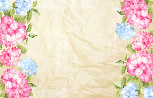 Carta cornice di ortensie in fiore.