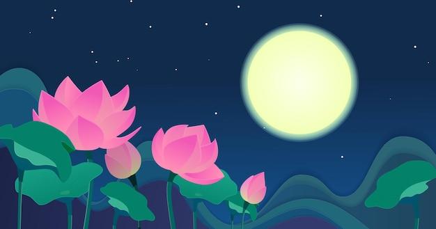 Цветущий лотос в ночном небе