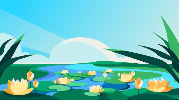 川に咲く蓮。美しい自然の風景。
