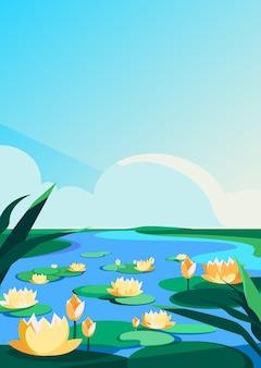 Цветущие лотосы на реке. природные пейзажи в вертикальной ориентации.