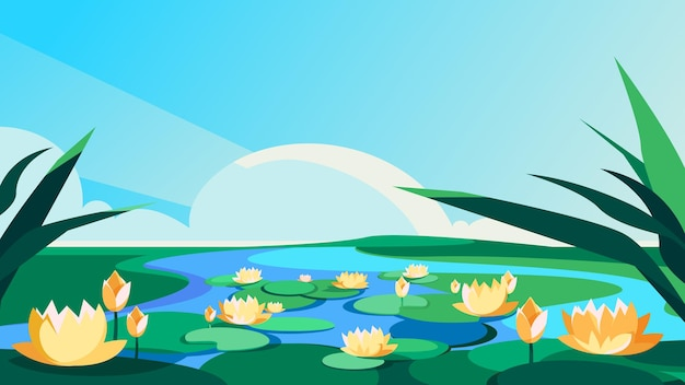 Blooming lotuses on the river. beautiful natural scenery.