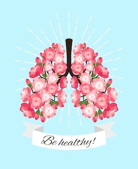피는 폐. 꽃이 만발한 장미 건강 개념 벡터 일러스트와 함께 건강한 좋은 폐