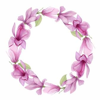咲くマグノリアラウンドフレーム。招待状、結婚式の装飾のための手作りの水彩マグノリアの花