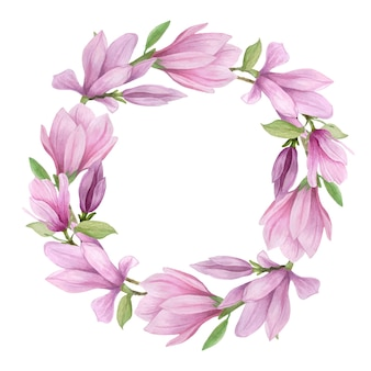 Blooming magnolia round frame. handmade watercolor magnolia flowers for invitations, wedding decor