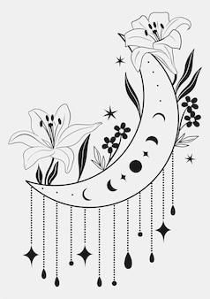白い背景で隔離の装飾的な要素を持つ咲く月。ベクトルグラフィックス。
