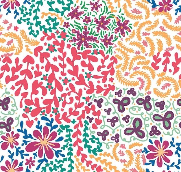 花と葉の花のシームレスなパターンの開花。春や夏のロマンチックでフェミニンな壁紙やラッピング。グリーティングホリデーカードの背景または印刷、フラットスタイルのベクトル