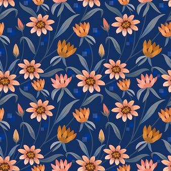 紺色の背景に咲くオレンジ色の花。